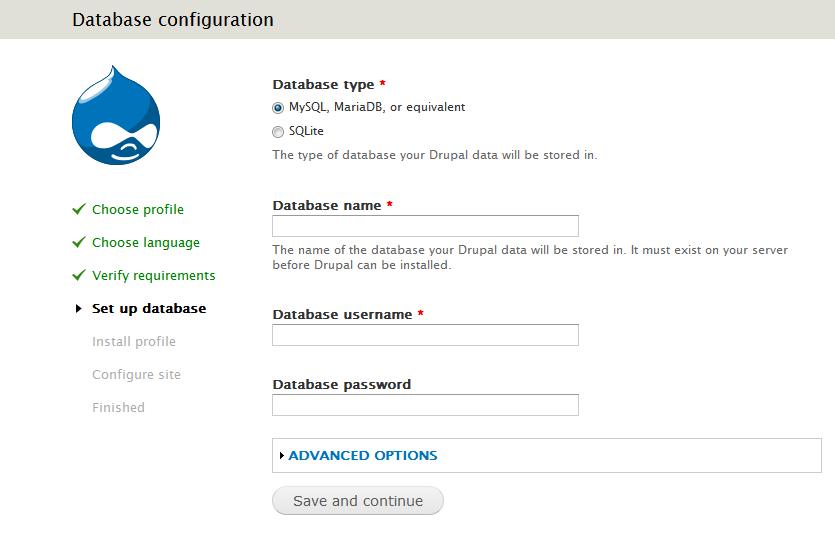 Конфигурация базы данных в Drupal