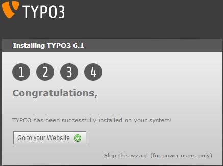 Завершение установки - TYPO3