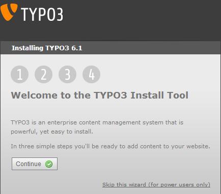 Первый шаг установки TYPO3